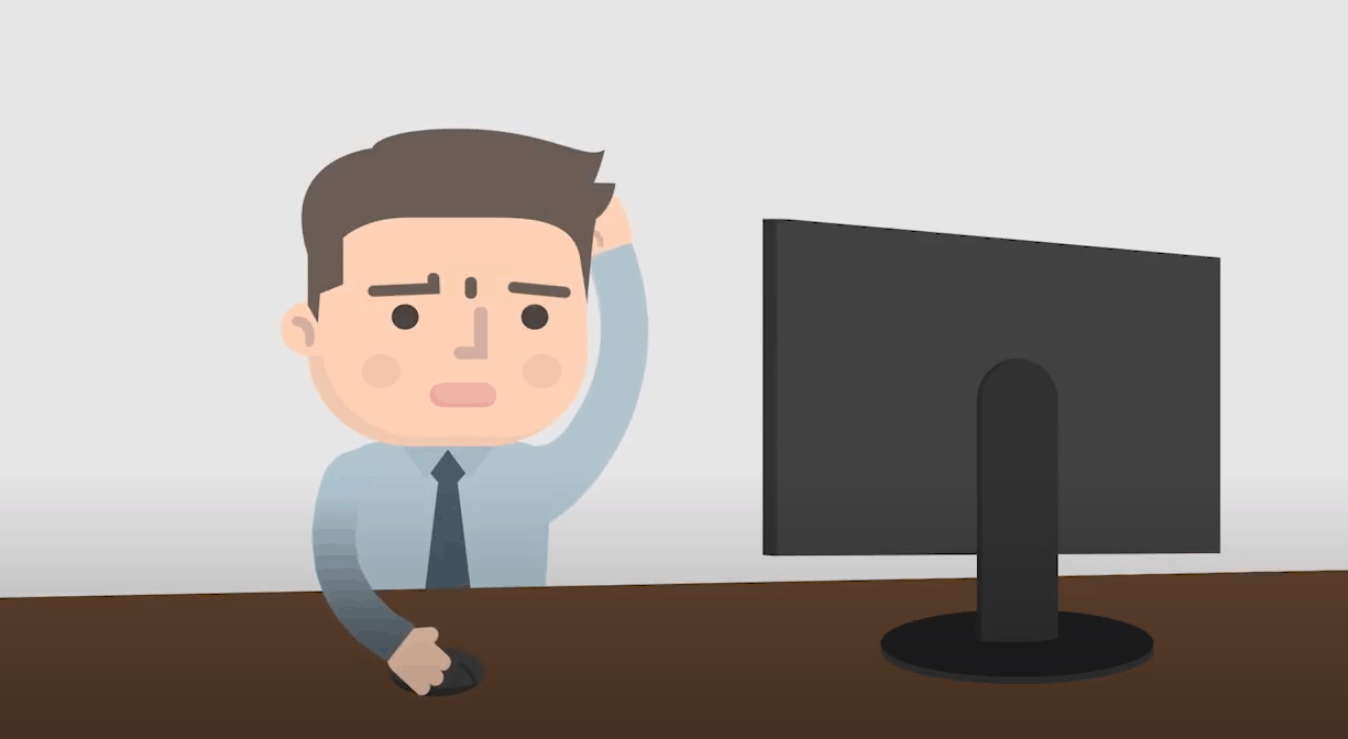 A animated man scratshing his head, in front of a computer