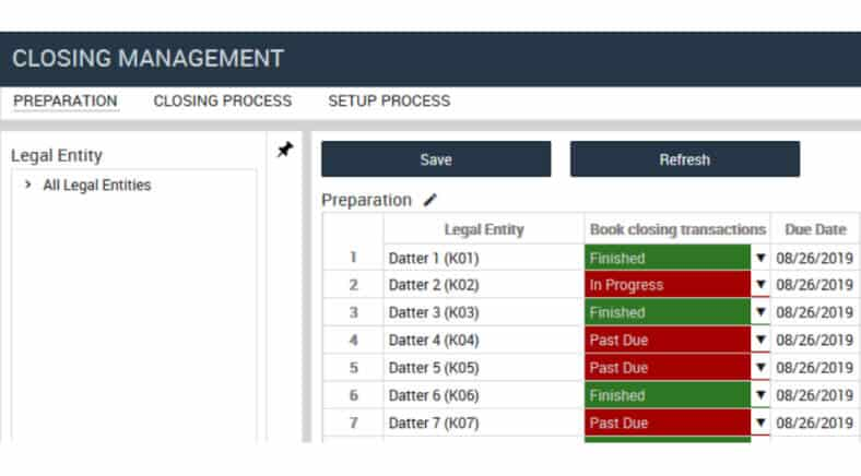 Profitbase consolidation example showing closing management screen