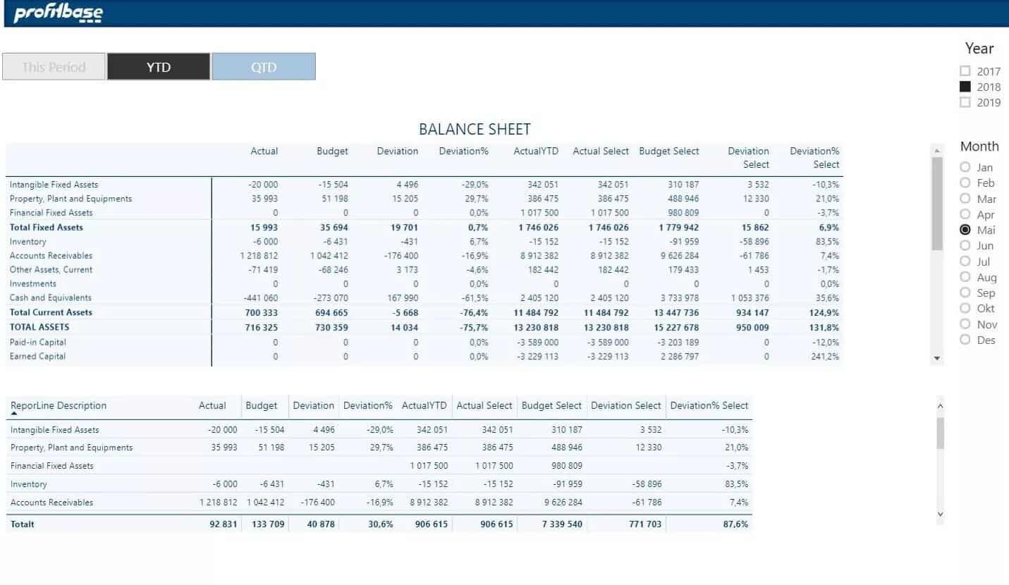 Profitbase report example showing balance sheet