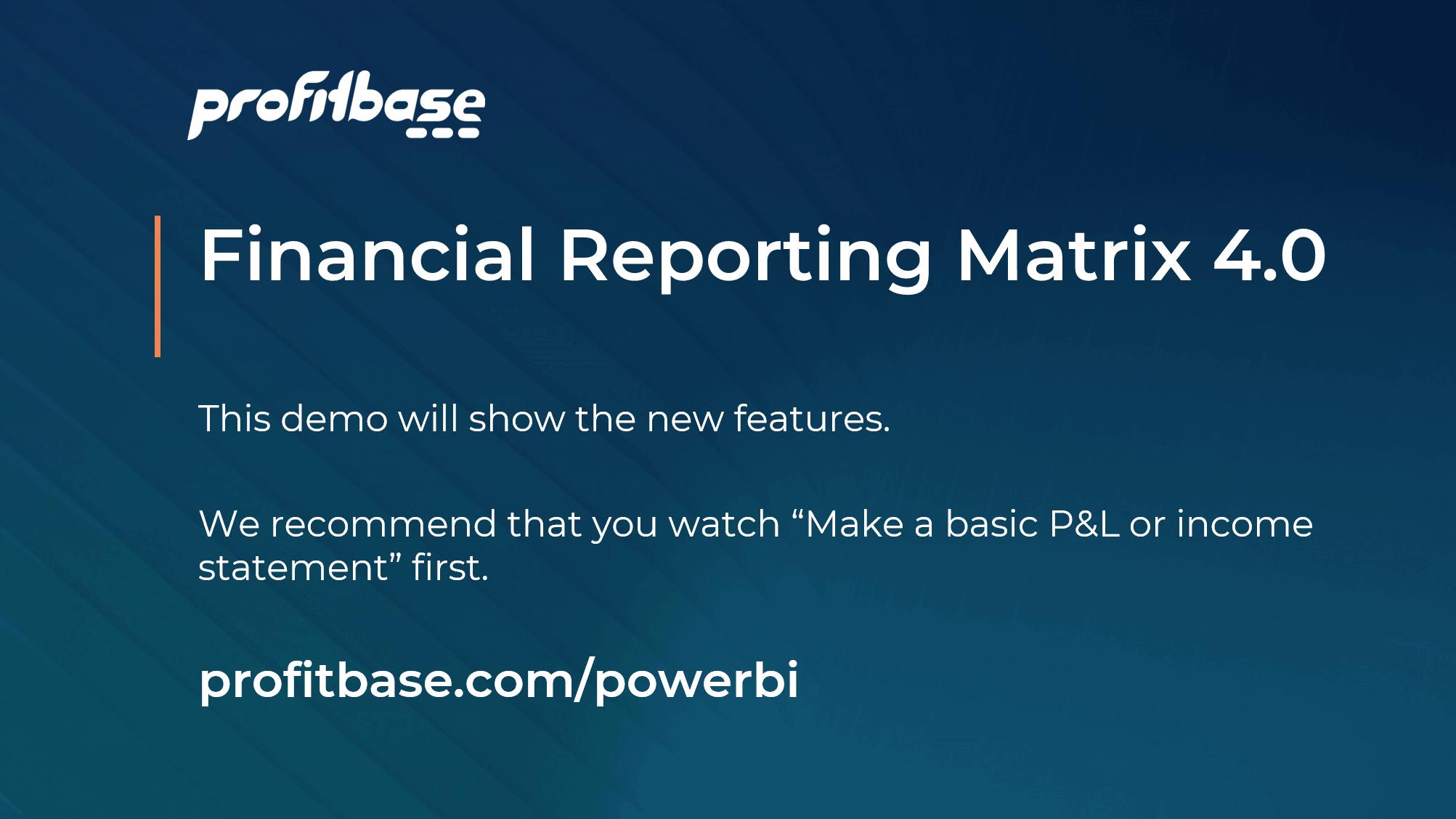 Financial Reporting Matrix V4