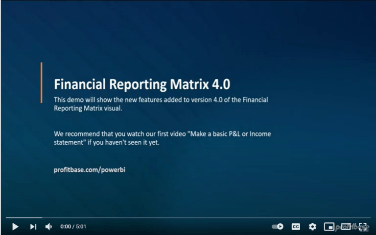Power BI Financial Reporting Matrix 4.0 video