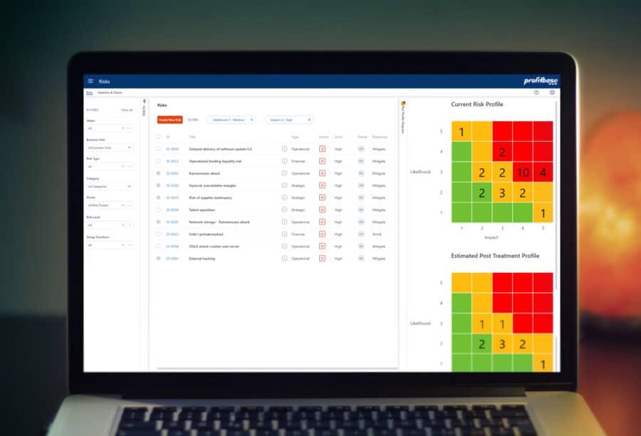 profitbase Risk Management - viewed on a laptop
